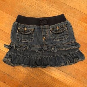 Denim skirt with attached shorts